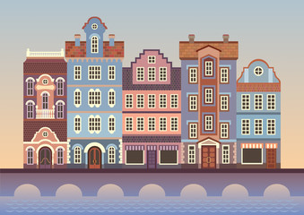 abstract Europe town street, colorful houses, flat illustration