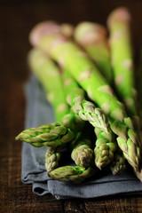 Fresh uncooked asparagus stalks