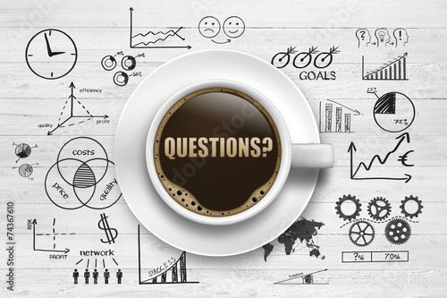 Foto op Canvas Koffie Questions