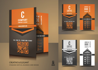 Creative business cards in orange and brown