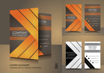 Vertical business cards in brown and orange