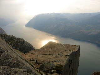 Sunrise pulpit-rock and fjord