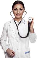 Female doctor examing with stethoscope
