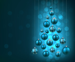 Christmas tree with blue christmas balls.