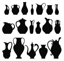 Vector silhouettes of vases. Isolated on white crockery
