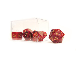 several different dice in a package on the table