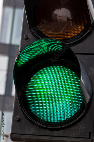 canvas print picture Verkehrsampel mit grünem Licht