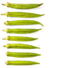 Okra or ladies' fingers vegetables over white background