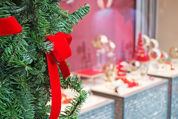shop window with christmas decoration