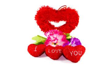 Rote Liebesherze mit Blume