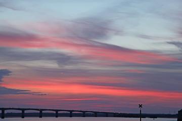 coucher de soleil pont ile d'Oléron