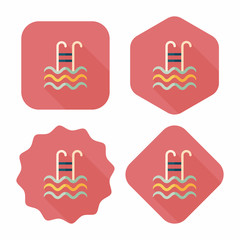swimming pool flat icon with long shadow,eps10