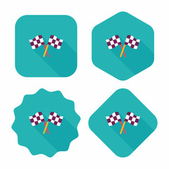 racing flags flat icon with long shadow,eps10