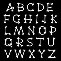 Complete set of alphabet letters shaped as bones