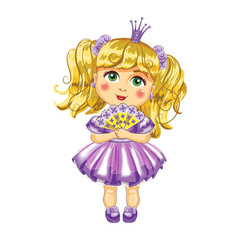 Cute little princess in a purple dress Vector.