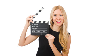 Woman holding movie clapboard isolated on white