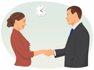 Businessman and businesswoman shaking hands the in office