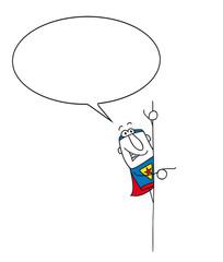 Superhero speaks beside his signboard