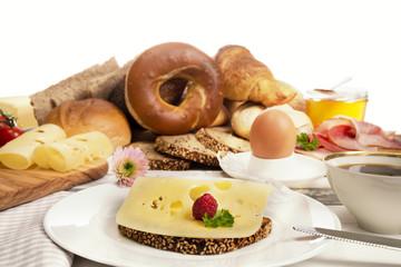 Frühstück Freisteller, Käsebrot, Schinken und , Kaffe