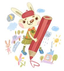 Девочка кролик рисует карандашом сердце