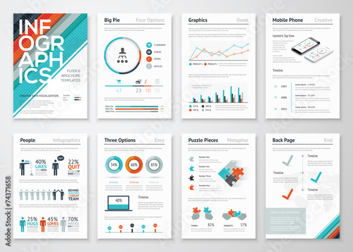 Infographic flyer and brochure elements for data visualization - 74371658
