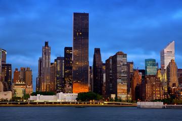 Manhattan Midtown architecture before sunrise, New York