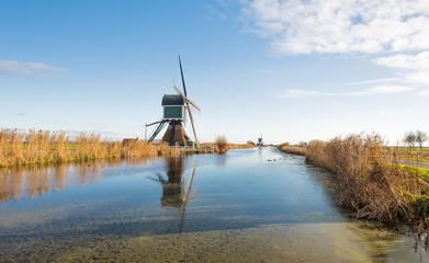 Dutch windmills in the autumn season