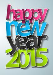 Happy new year 2015 text design, Vector illustration