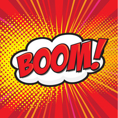 BOOM! wording in comic speech bubble in pop art style