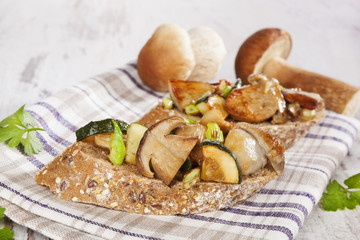 Bruschetta with mushrooms.