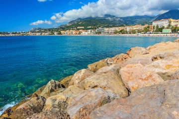 Beautiful cityscape and beach,Menton,Azur Coast,France,Europe