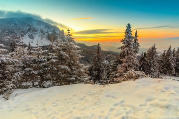Majestic sunset and winter landscape,Carpathians,Romania,Europe