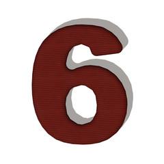 6 numero lana maglione 3d in tessuto, isolata su sfondo bianco