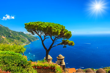 Summer landscape and ornamental garden,Ravello,Amalfi,Italy