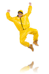 Modern dancer in yellow dress isolated on white