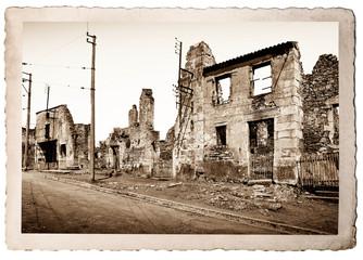 vecchia fotografia di Oradour sur Glane