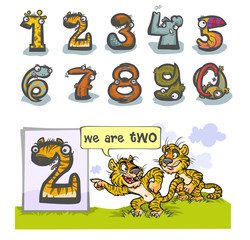 Cartoon Animal Numbers. with number Two as Tigers.