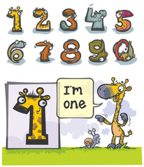 Cartoon Animal Numbers. with number One as Giraffe.