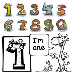 Cartoon Animal Numbers. with number One for coloring.