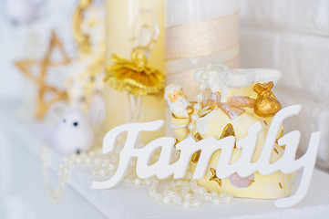 Still life with wooden family letters and decorations