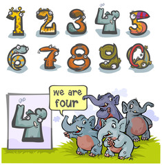 Cartoon Animal Numbers. With number Four as Elephants.
