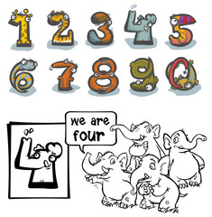 Cartoon Animal Numbers. With number Four for coloring.