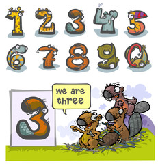 Cartoon Animal Numbers. With number Three as Beavers.
