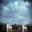 Houses on the Clouds Background