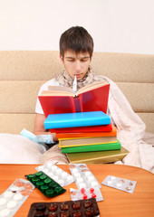 Sick Student with a Books