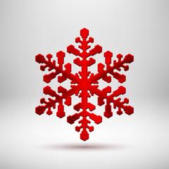 Red Abstract Christmas Snowflake Sign