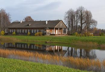 Вид на господский дом со стороны Большого пруда. Тригорское