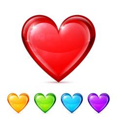 Glossy heart icons