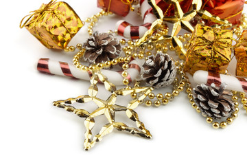 Close up of christmas decoration on white