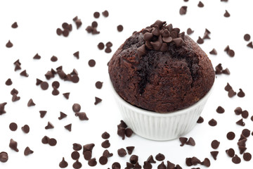 Muffin with chocolate chips on white